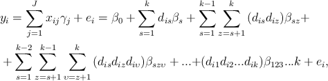 LaTeX: \begin{align} </p> <pre> &amp; {{y}_{i}}=\sum\limits_{j=1}^{J}{{{x}_{ij}}{{\gamma }_{j}}+{{e}_{i}}={{\beta }_{0}}+\sum\limits_{s=1}^{k}{{{d}_{is}}{{\beta }_{s}}+\sum\limits_{s=1}^{k-1}{\sum\limits_{z=s+1}^{k}{({{d}_{is}}{{d}_{iz}}){{\beta }_{sz}}+}}}} \\  &amp; +\sum\limits_{s=1}^{k-2}{\sum\limits_{z=s+1}^{k-1}{\sum\limits_{\upsilon =z+1}^{k}{({{d}_{is}}{{d}_{iz}}{{d}_{i\upsilon }}){{\beta }_{sz\upsilon }}+...+}}}({{d}_{i1}}{{d}_{i2}}...{{d}_{ik}}){{\beta }_{123}}...k+{{e}_{i}}, \\  </pre> <p>\end{align}